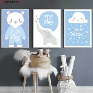 Image 2 - Cartoon Animals Elephant Prints Posters Baby Funny Quotes Canvas Painting On The Wall Kids Nursery Bedroom Art Picture Home Deco