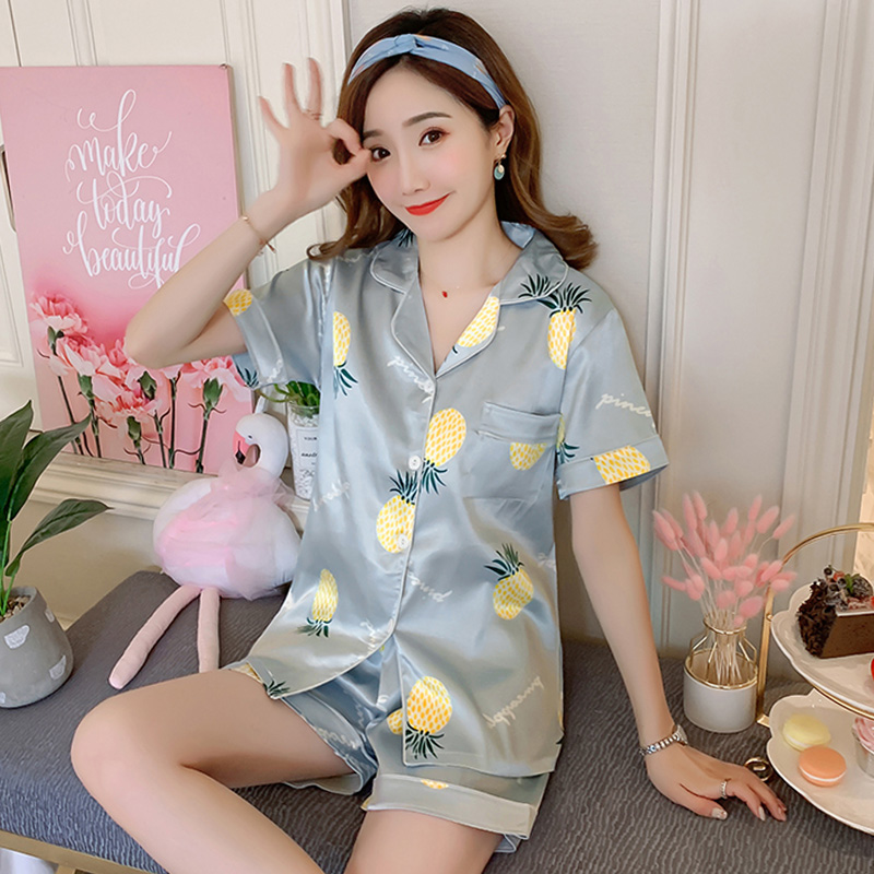 2019 Summer Women's   Pajamas     Sets   pineapple Printed Fashion Female   pajamas   Faux Silk Two Pieces Sleepwear Shirts + Pants Nighties