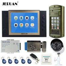 """JERUAN 8"""" Color LCD Video Door Phone Record Intercom System kit + Waterproof Password HD Mini Camera + Security camera +E-Lock"""