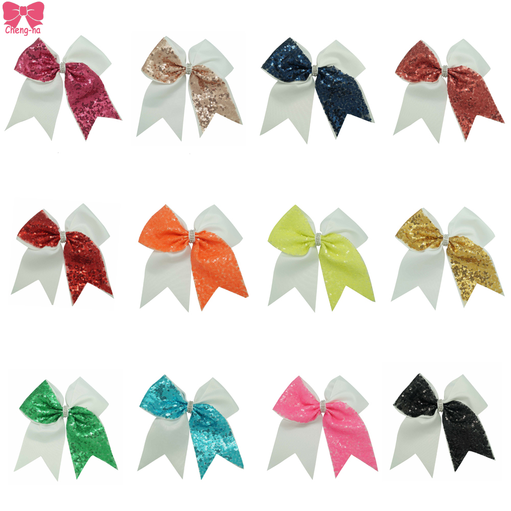 Solid Sequin Cheer Bow Cheerbows With Alligator Clip Girls Cheerleading Hair Bow Accessories