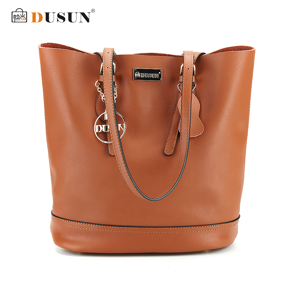 DUSUN Women Vintage Composite Bag Genuine Leather Handbag Luxury Brand Women Bag Casual Tote Bags High Quality Shoulder Bag dusun 2016 new women handbag genuine leather women bag luxury brand high quality bag casual tote women handbags bolsa feminina