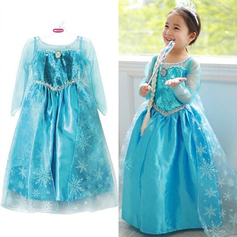 2017 Summer children's clothing girls dresses elsa princess dress for girl infant kids costume party baby anna elza clothes 2017 new girls dresses for party and wedding baby girl princess dress costume vestido children clothing black white 2t 3t 4t 5t