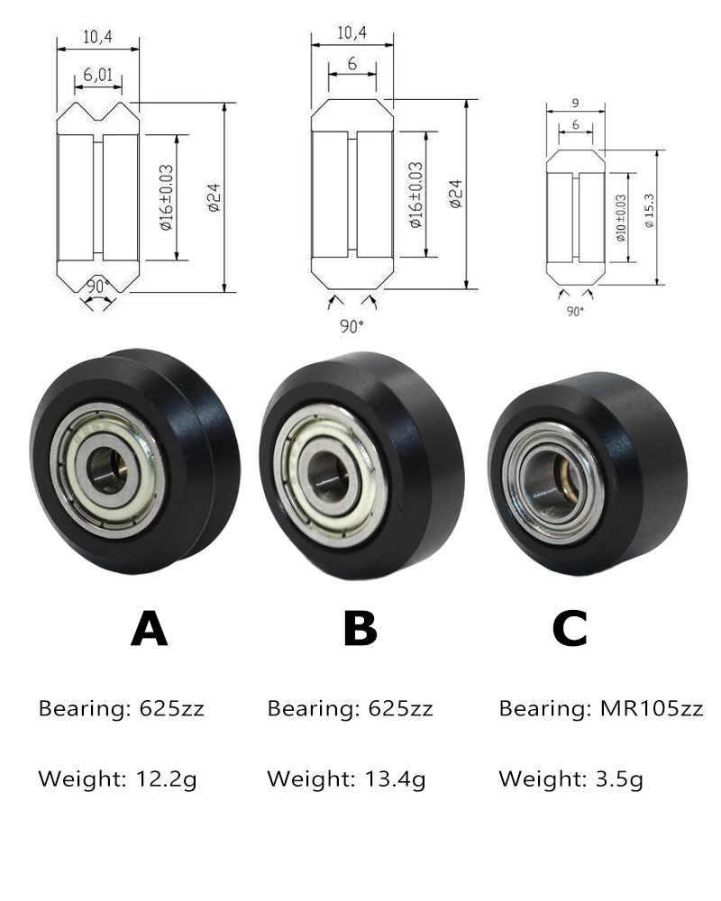 10 шт. CNC Openbuilds пластиковые колеса POM с 625zz MR105zz холостой шкив шестерни пассивное круглое колесо Perlin колеса V типа для v-слота