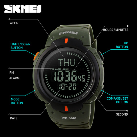 SKMEI Men Outdoor Climbing Hiking Sport Watch Digital LED Electronic Wrist Watches Man Compass Chronograph Men Sports Watches Multan