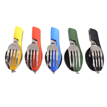 3 in1 Multi-Function Camping Folding Knife And Fork Spoon Combination Tableware Outdoor Kitchen Portable Detachable Type