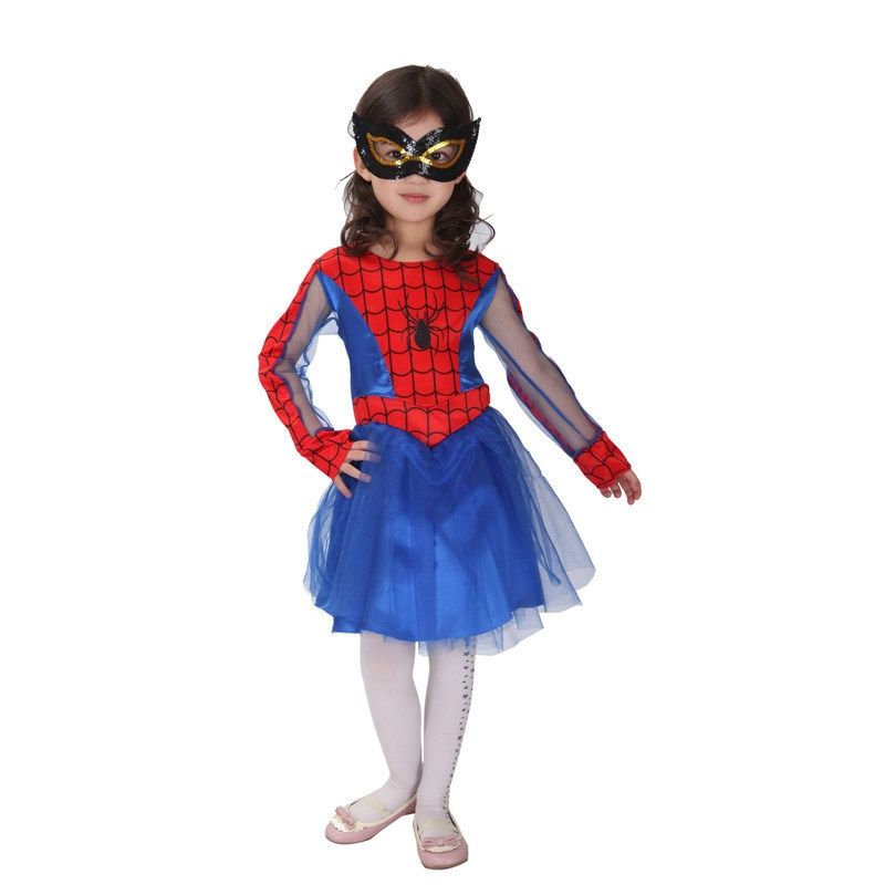 Hot Sale High Quanlity Retail New Halloween Spider-man Lace Halloween Costumes for Kids Girls Costumes Sets Cosplay Gift
