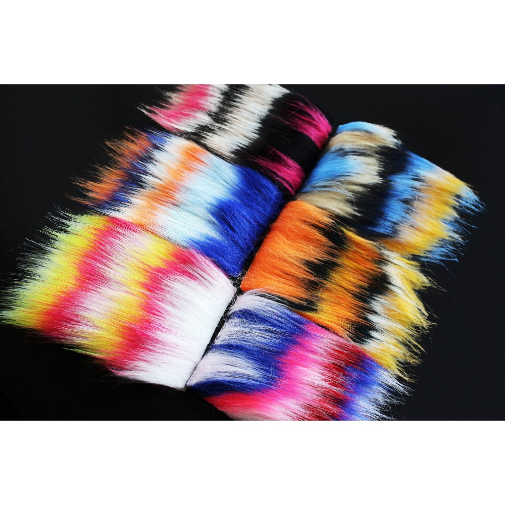 5 pcs 8X8cm Furabou Craft Fur 5 Barred Colors Fiber Streamer Tail ...
