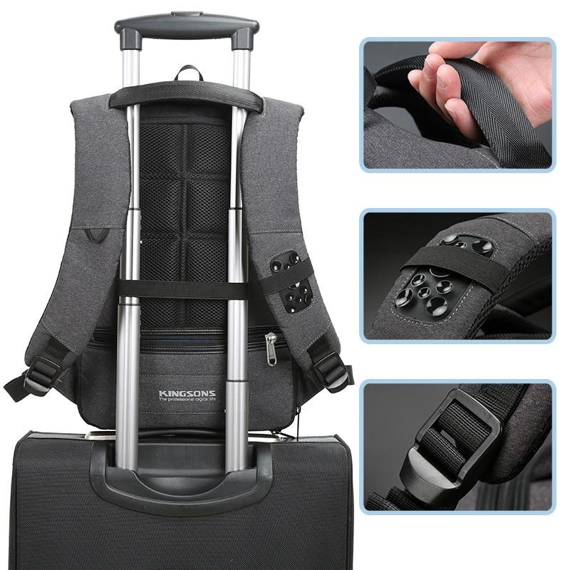 Купить с кэшбэком Kingsons Backpack Men Women 15.6 Inches Laptop Anti Theft Bagpack with Lock USB Charging Mini Back Pack Teenager Travel Rucksack