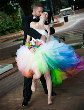 Robe De Mariage High Low Wedding Dresses Puffy Colorful rain bow Lace Up Vestido Festa Short Front Long Back gown