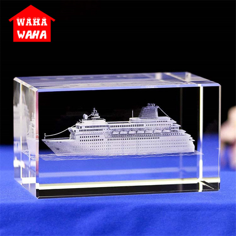 3D Carved  Boat Model  Crystal 3D Laser Engraved  Rectangles K9 Crystal Luxury Cruise Ship Model Sculpture White Souvenir Crafts
