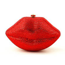 Big Red Lip Clutch Luxury Women Designer Handbags High Quality Brand Bag Clutch Crystal Rhinestone Purse for Party Free Shipping