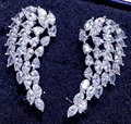 Brand new Elegant AAA cubic zircon angel wing otica clip women statement stud earrings Korean jewelry