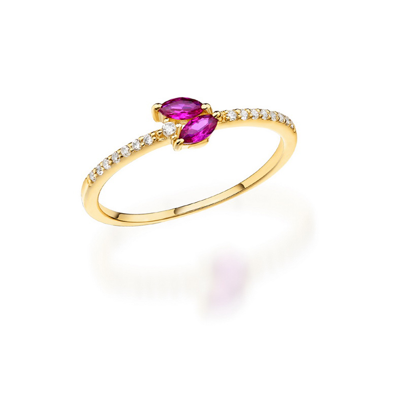 JXXGS Hot Sale Red Corundum With White Zircon Ring 14k Gold Charming Leaf Shape Ring For Women