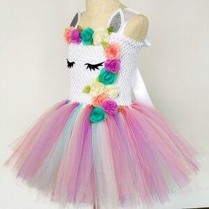 Image 3 - Pastel Unicorn Tutu elbise bebek çocuk kız çiçek doğum günü Masquerade parti elbise çocuk Purim günü cadılar bayramı noel kostüm