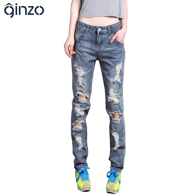 Das mulheres mais solto tamanho grande jeans rasgados boyfriend jeans para as mulheres da Senhora Do Sexo Feminino casual calças de ganga buraco Livre grátis