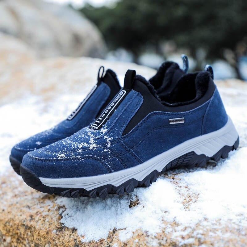 5b93d4a0a5 Los hombres de invierno zapatos de senderismo de cuero transpirable  impermeable escalada de montaña zapatos antideslizantes caminatas al aire  libre Camping ...