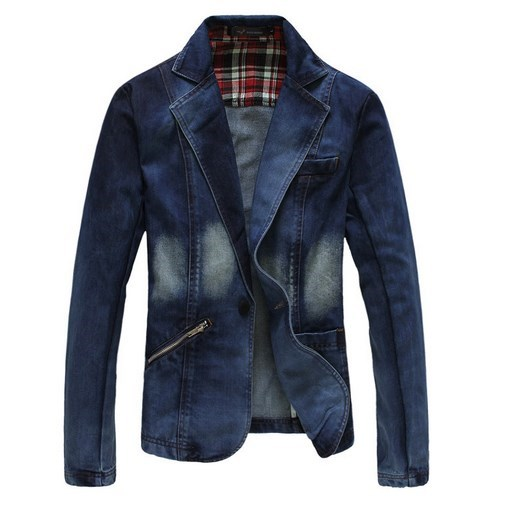 Plus Size XXXL 4XL Men Denim Blazer Men Jeans Suits Casual Suit One Button Jean Jacket