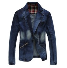 Plus Size XXXL 4XL Men Denim Blazer Men Jeans Suits Casual Suit One Button Jean Jacket Men Slim Fit Denim Jacket Suit Men