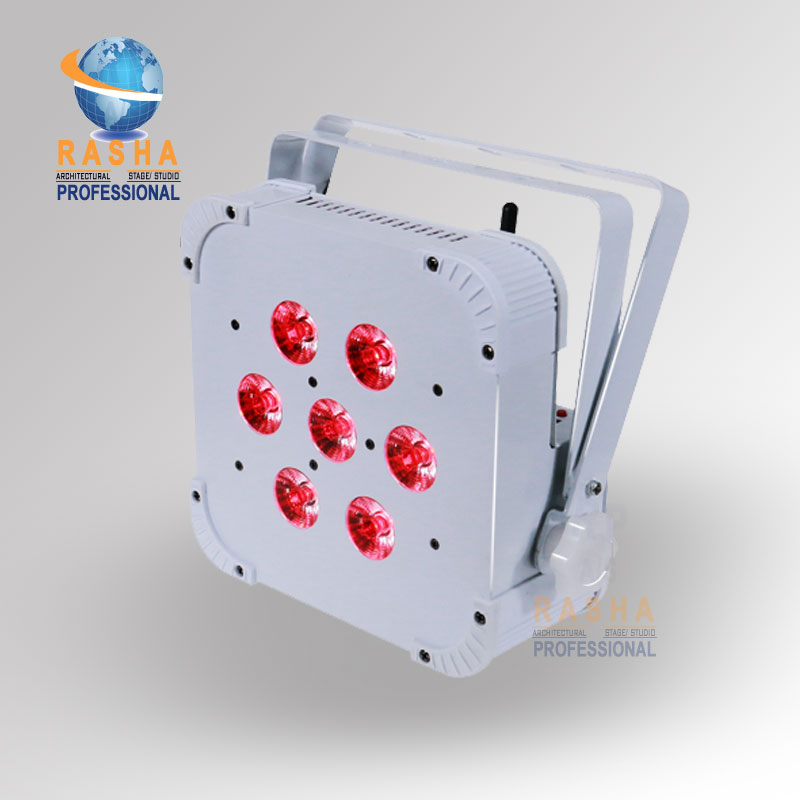 Rasha Quad 7pcs*10W RGBA/RGBW 4in1 DMX512 LED Flat Par Light 2.4G Wireless LED Par Can For Disco Stage Party