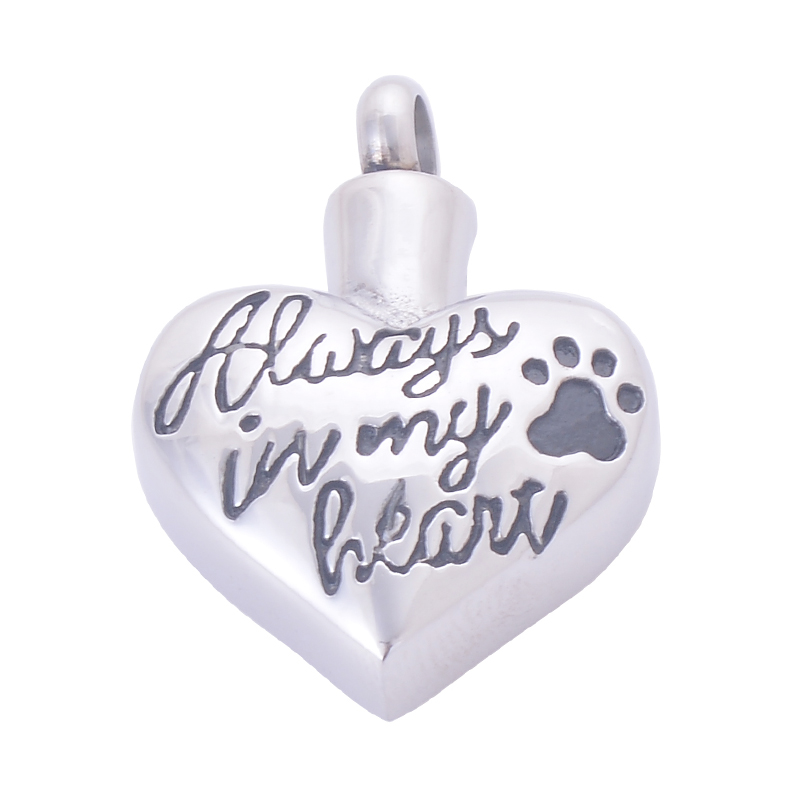 10pcs/lot 316L Stainless steel Always in my heart pets dog Footprint cremation ashes urns Pendants keepsakes wholesale LY028W heart dog