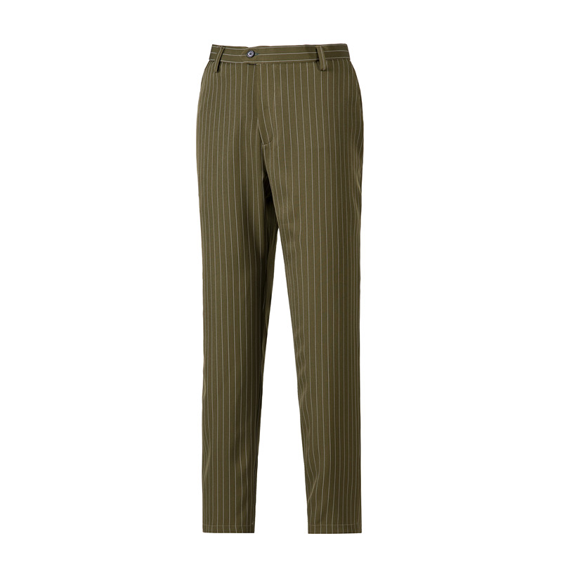 Men s Flat Front Suit Pants Formal Wedding Business Straight Male Trousers Stripe Wool Office Dress