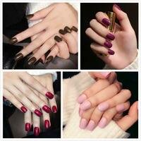 4sets 96pcs Pure Colors Short False Nails Set Popular Red Acrylic Nails Oval Full Cover Art Gel Polish Tool