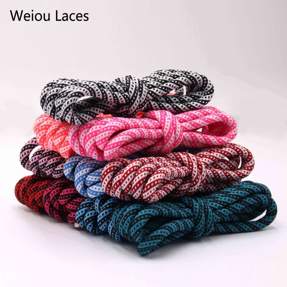 Weiou 5mm Round Type Polyester Two Tone Twill Middle Dot Checkered Laces Exclusive Red White Black Shoestring For Boots Shoelace