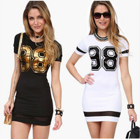TFGS New Design Women Casual Summer Dresses Number 98 Print Short Sleeve Slim Sexy Patchwork Sheath