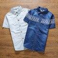 Hombres de la Camisa de Algodón de mezclilla Jean Camisas de Alta Calidad Camisas de Vestir Camisa de Los Hombres de Manga Corta Estilo Moda Jeans Camisas Social