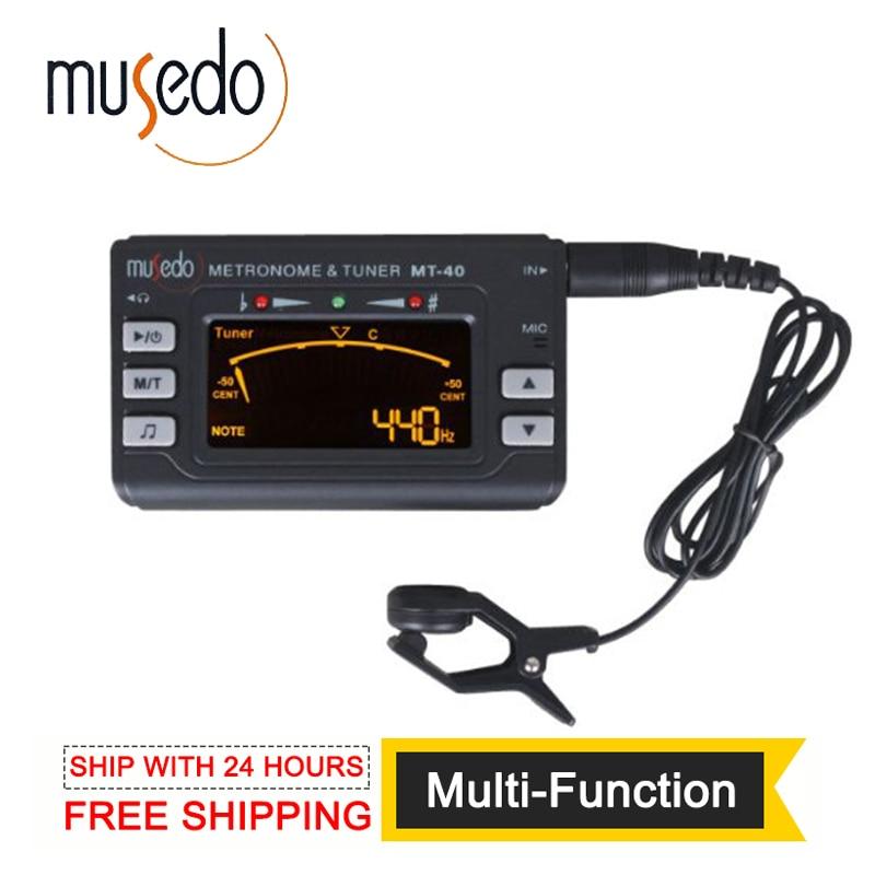 Musedo MT-40 ģitāras skaņotājs Elektroniskais digitālais 3 in 1 LCD ģitāra / bass / vijole / ukulele Tuner metronoms tonera ģeneratora uztvērēja klips