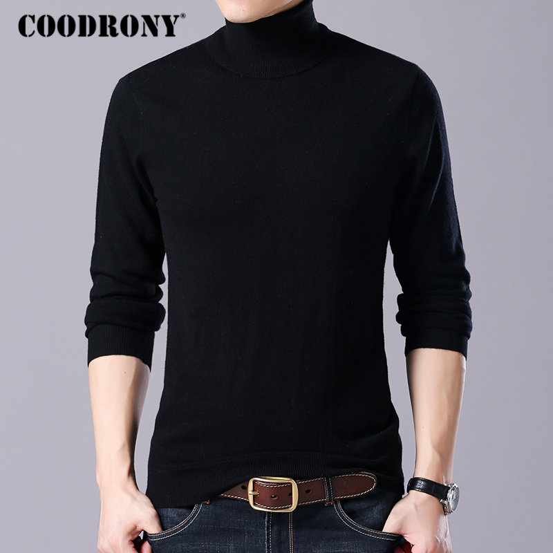 COODRONY Brand Sweater Men Casual Turtleneck Pull Homme Autumn Winter 100% Merino Wool Sweaters Warm Cashmere Pullover Men 93004