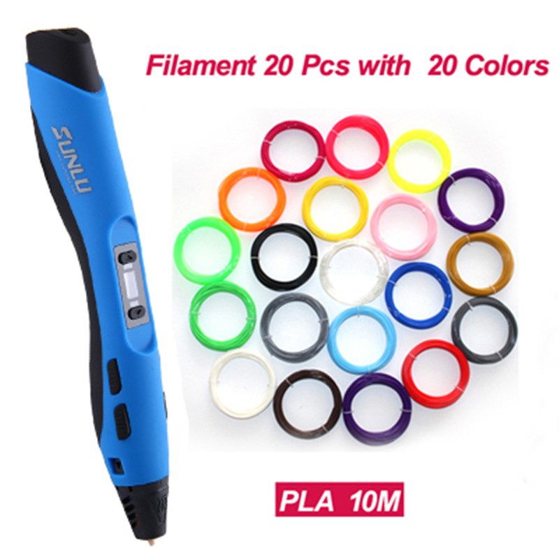 SL-300 3D Drawing Pen Supremery 3D Printing Pen 20 Pcs PLA ABS  Filament 1.75mm myriwell factory outlet 3d pen add 3color filaments 3d printing pen 3d 1 generation best children present 3d stereo drawing pen