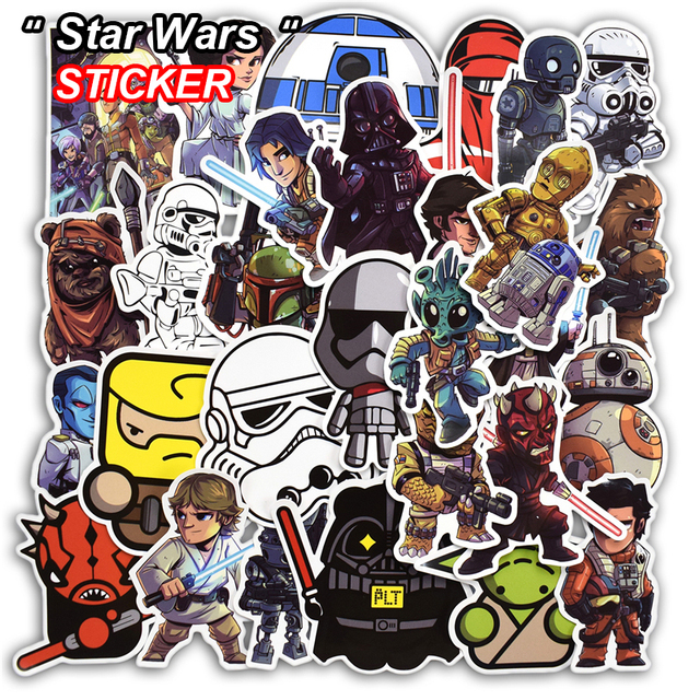 50 pcs star wars stickers for luggage laptop skateboard fridge biycle motorcycle car home decor deal