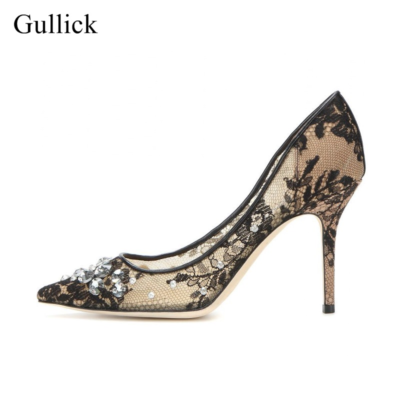 Sexy Black Lace Mesh Pumps Pointed Toe Slip-on Crystal Embellished High Heel Dress Shoes Women Bride Heels Wedding Dress Shoes women wedding silver shoes crystal sequins decor pumps lace slip on bridal super high heel round toe sexy ladies party shoes