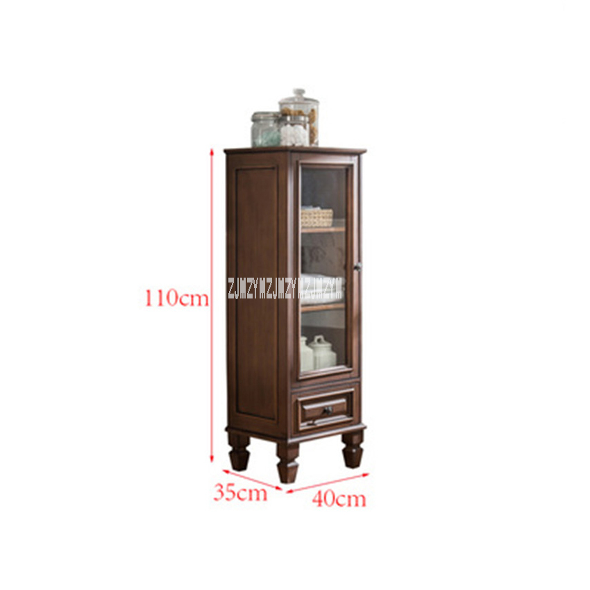 808 Modern Simple Bathroom Cabinet Living Room Solid Wood Storage Cabinet Rubber Wood Corner Side Cabinet Toilet Storage Locker
