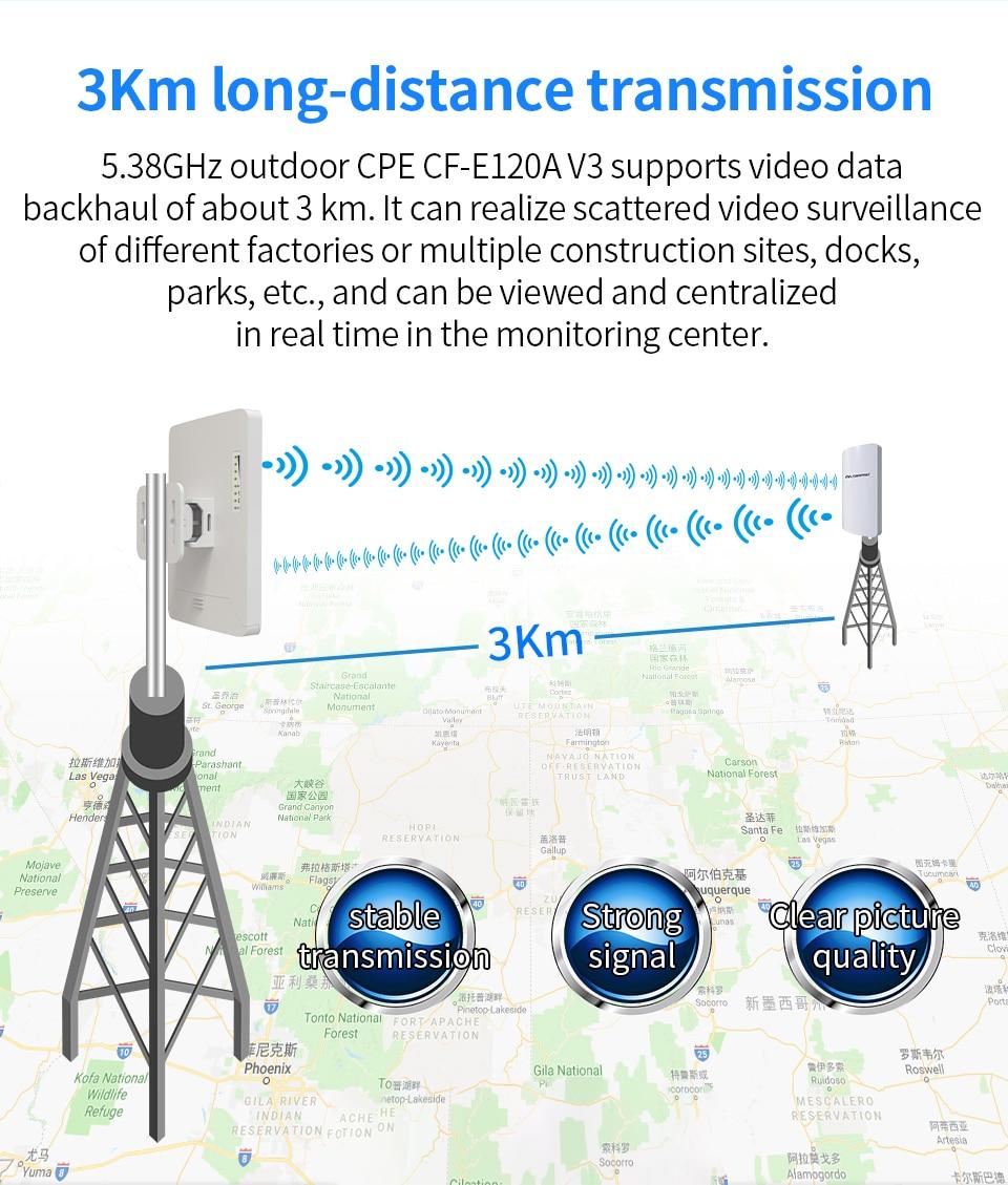2 Pc COMFAST CF-E120AV3 3 KM 300 Mbps 5.8 Ghz extérieur Mini sans fil AP pont WIFI CPE Point d'accès 11dBi WIFI antenne Nanostation - 2