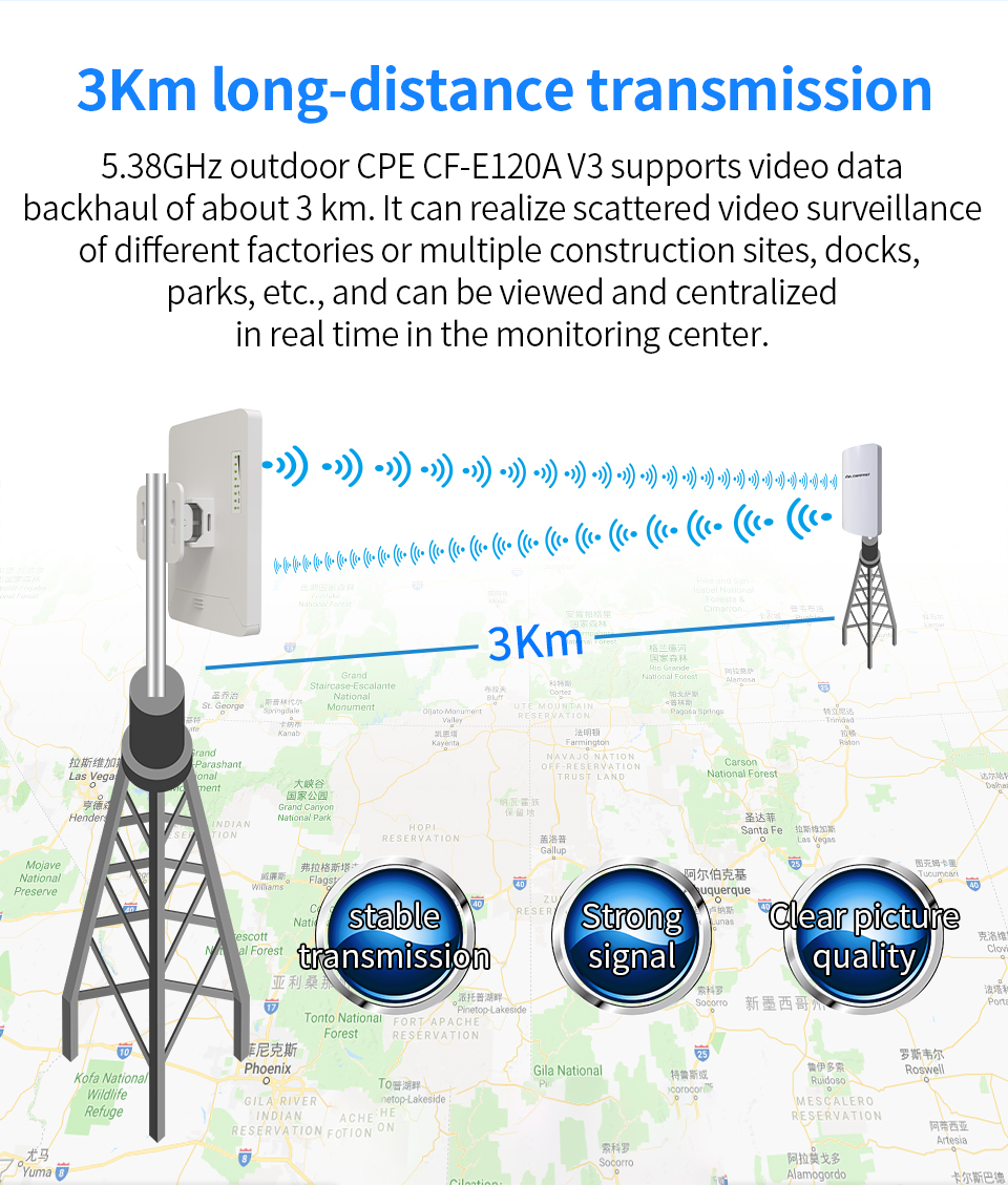 COMFAST E120A-V3 Outdoor CPE 300Mbps 5GHz Wireless Access Point WiFi Repeater