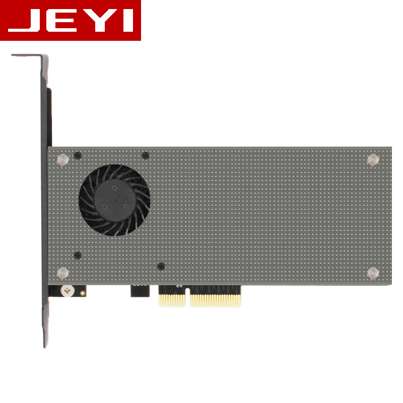 JEYI SK9 M.2 Expansion NVMe Adapter NGFF Turn PCIE3.0 Cooling Fan SSD Dual Add On Card SATA3 With Fan Aluminum Cover Capacitance