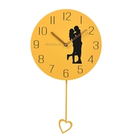 Beautiful and warm home decoration lovers wall clock Stylish love swing yellow gray wall clock