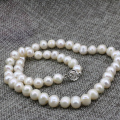 Fashion women chain necklace natural 8-9mm white freshwater cultured pearl nearround bead choker wedding party gift 18inch B3235