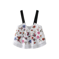 YSMILE Y Women Sexy V Neck Backless Floral Embroidery Crop Top Camis Fashion Style Lady Sleveless
