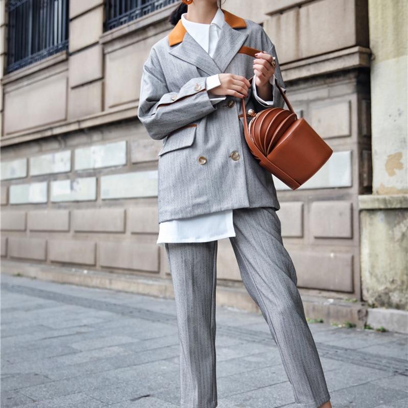 Moda Formale Manica Grigio 2018 E Del Lavoro Pantaloni Blazer Donne Usura Autunno Di Più Formato Lunga Signore Delle Inverno Sottile Vestiti Rugod p56O1q4O
