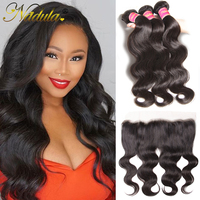 Nadula Hair Peruvian Body Wave Hair 3 Bundles With Frontal 100% Human Hair Weaves 13*4 Ear to Ear Lace Frontal Closure Remy Hair