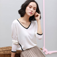 2018 New Styles Spring Autumn Online Sweaters For Womens 100% Pure Cashmere Knitting V neck Long Sleeve Womens White Sweater
