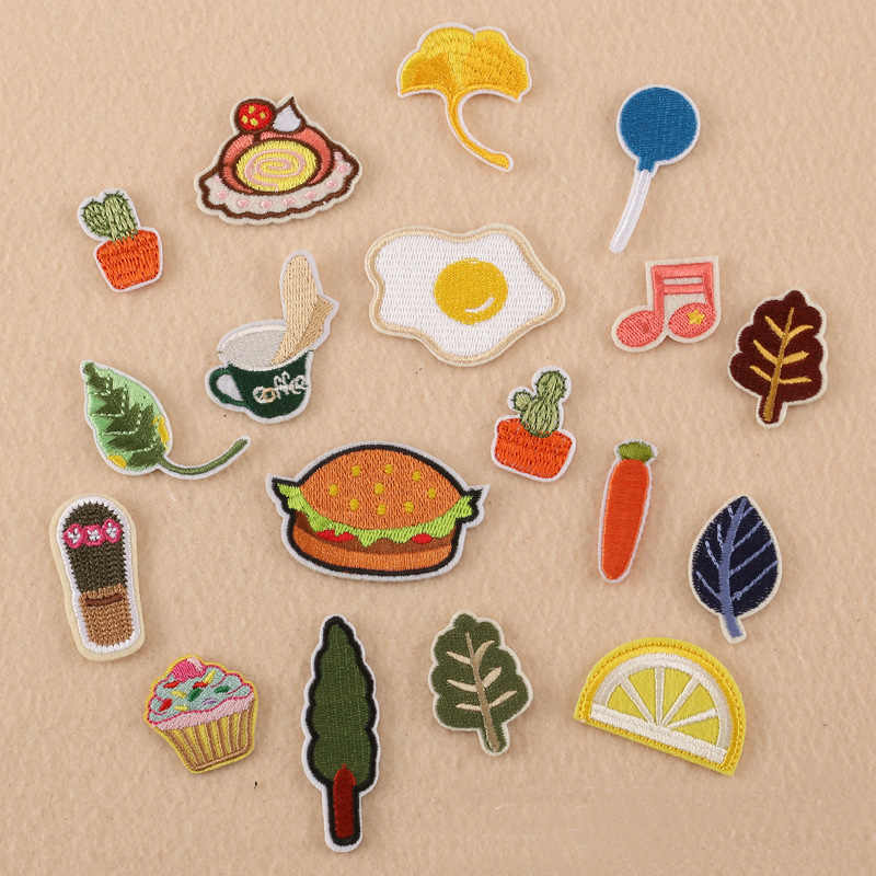 Kids Cartoon Carrot Leaf Hamburger Egg Music Embroidery Small Patch for Clothing Iron on Clothes Appliques Badge Stripe Sticker