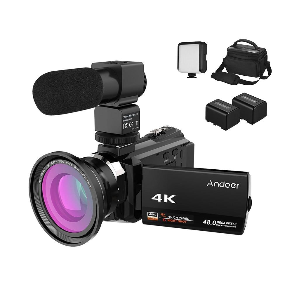 Andoer 4K Camcorder 1080P 48MP WiFi Digital Video Camera IR Night Sight 16X Digital Zoom 3inch