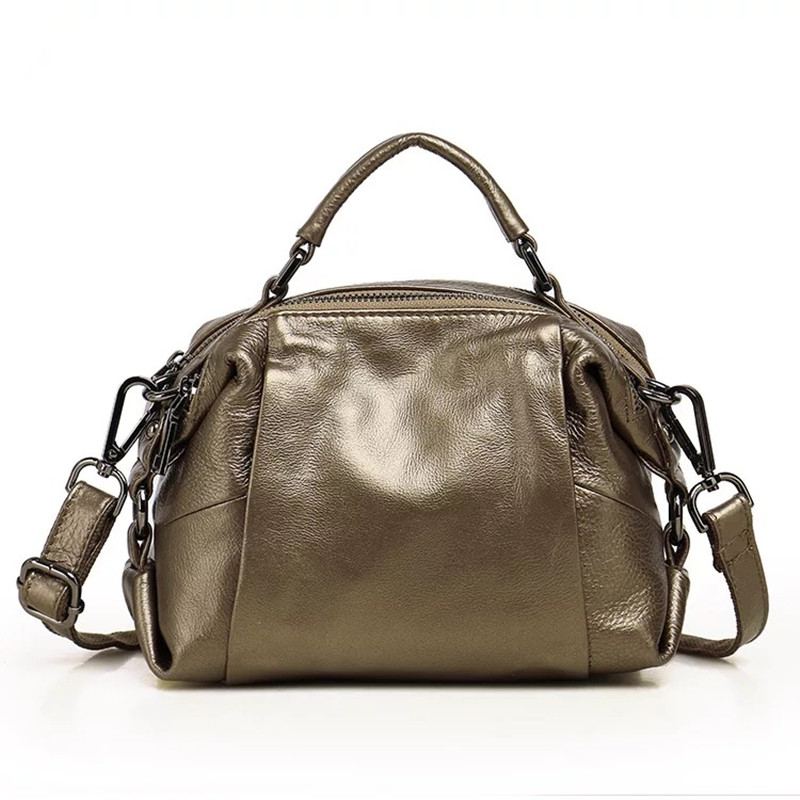 Casual Boston Women Messenger Bags Genuine Leather Tote Shoulder Bags