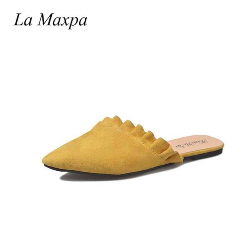 6dab9d2df10a3c ... Fabric Platform Loafer Flip Flop. . La Maxpa Women Slippers Flat Women  Shoes Slip On Flat Ladies Mules Fashion Ruffles Ladies Shoes. sku   32880324751