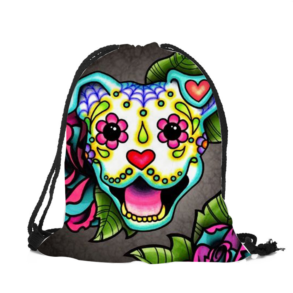 Customized Drawstring Bags Women Men Unisex Skull Dog Tattoo 3D Printing  Bags Mochila Feminina sac a dos String Backpacks-in Backpacks from Luggage  & Bags ...