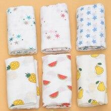 Горячая Распродажа, детское муслиновое Хлопковое одеяло, детское Пеленальное Хлопковое одеяло с красочным принтом, мягкое дышащее одеяло для новорожденных